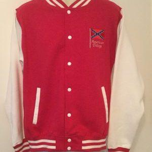Unisex Varsity Sweatshirt Jacket  Pink/ White (Large)