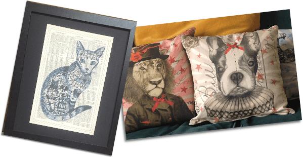 roo abrook pug prints and pillows