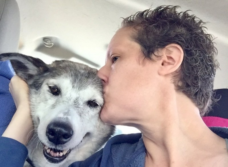 Tracy Ahrens kissing Angel after adoption rescue