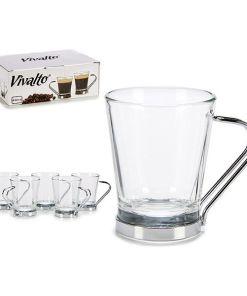 Conjunto de Chávenas de Café Vivalto Cristal (6 Peças)