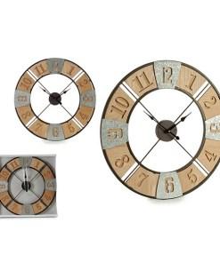 Relógio de Parede Prata Madeira (3,5 x 60 x 60 cm)
