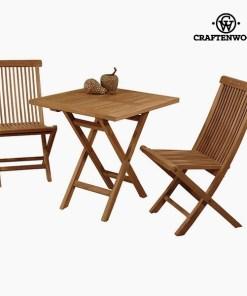 Mesa com 2 cadeiras Teca (70 x 70 x 77 cm) by Craftenwood