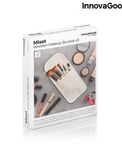 Conjunto de Pincéis de Maquilhagem em Madeira com Estojo Miset InnovaGoods 5 Peças