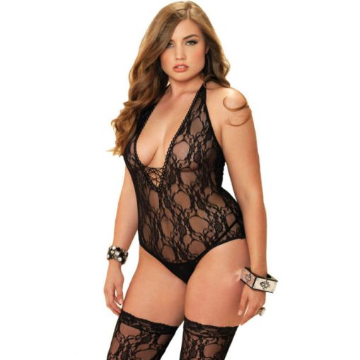 2 PC PELUCHE FLORAL BODYSTOCKING