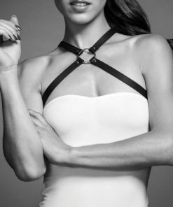 BIJOUX INDISCRETS MAZE CROSS CHEST HARNESS BROWN