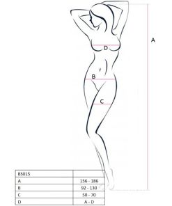 PASSION WOMAN BS015 BODYSTOCKING BLACK ONE SIZE