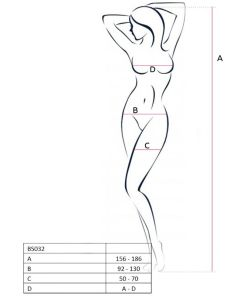 PASSION WOMAN BS032 BODYSTOCKING WHITE ONE SIZE