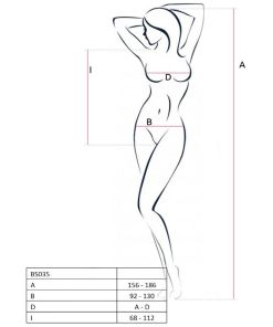 PASSION WOMAN BS035 BODYSTOCKING WHITE ONE SIZE