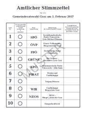 Amtlicher Stimmzettel für die Grazer Gemeinderatswahl 2017; MUSTER