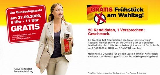 Aktion zur Bundestagswahl - Kostenloses Frühstück