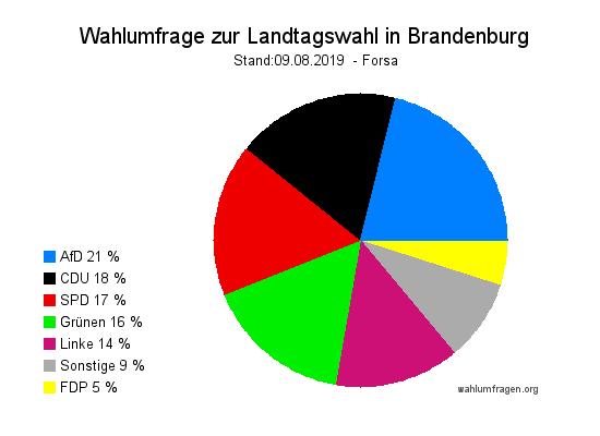 Aktuelle Forsa Wahlumfrage zur Landtagswahl in Brandenburg vom 09. August 2019
