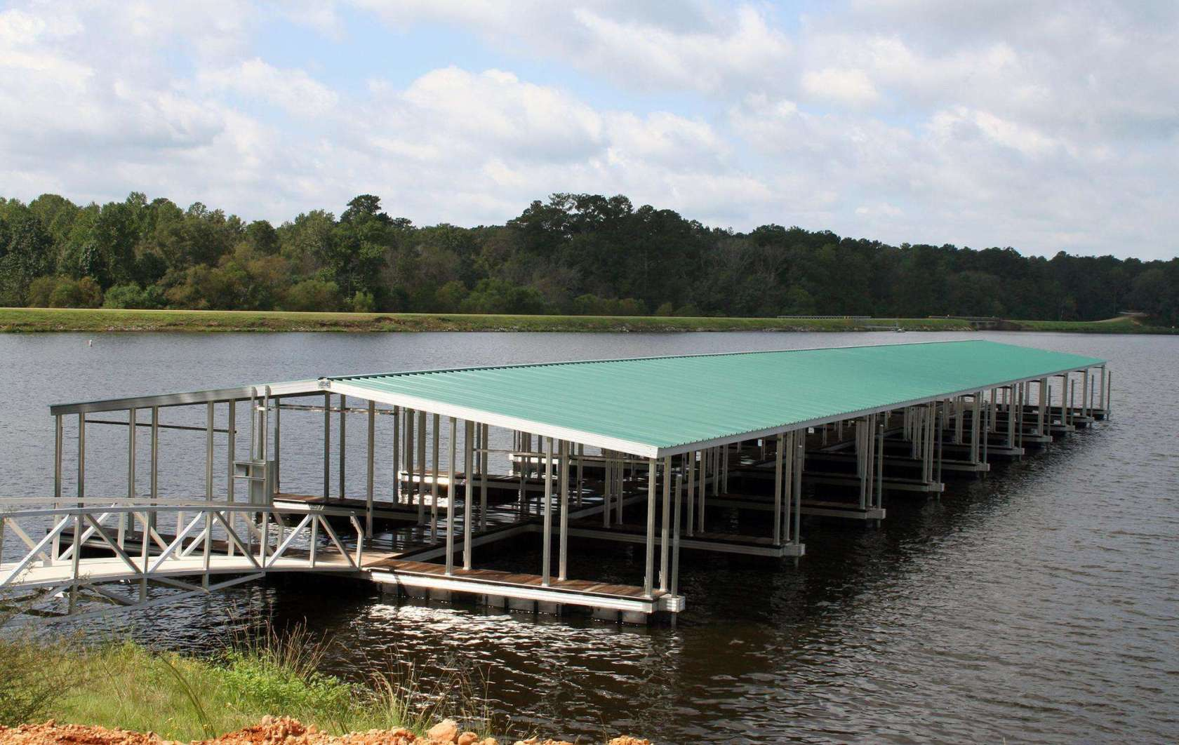 wahoo aluminum docks commercial marine construction at percy quinn state park 07 with green gable roof and aluminum gangway plus ipe decking