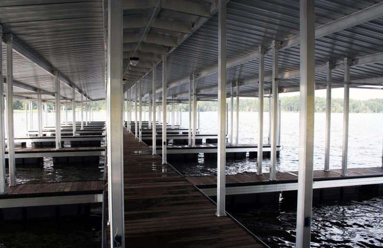 wahoo aluminum docks commercial marine construction at percy quinn state park 06 with ipe decking painted poles and gable roof