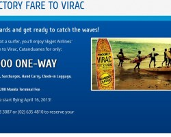 Skyjet Airlines Starts flights to Virac this April 2013