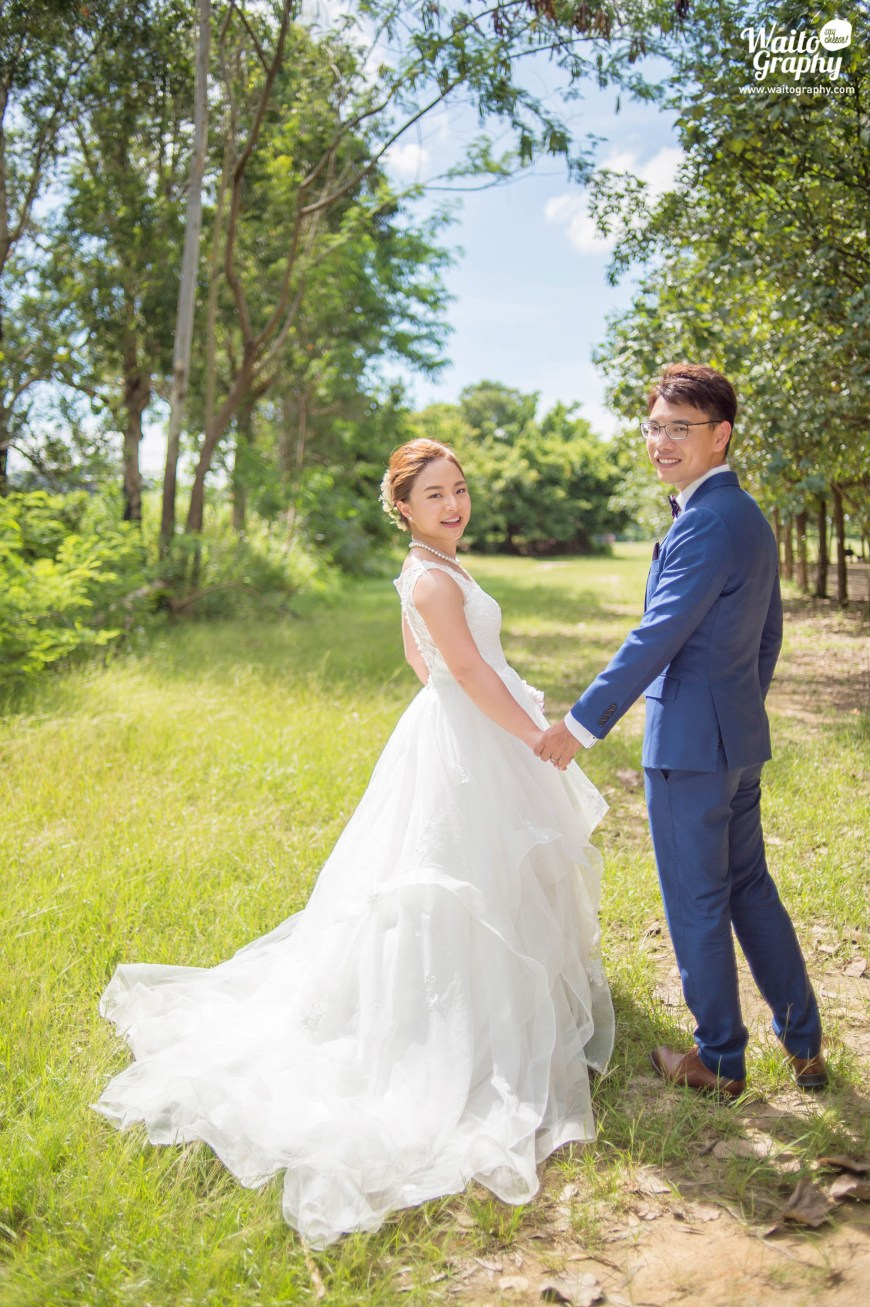 HK Couples who love natural green environment having an outdoor engagement photography in a sunny day at the lawn in Hong Kong