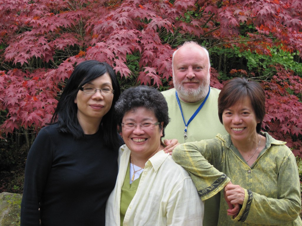 Sylvia (front, centre) with Jenny Tsang (left), Mark Greenwood (rear) and Lisa Mok (right)