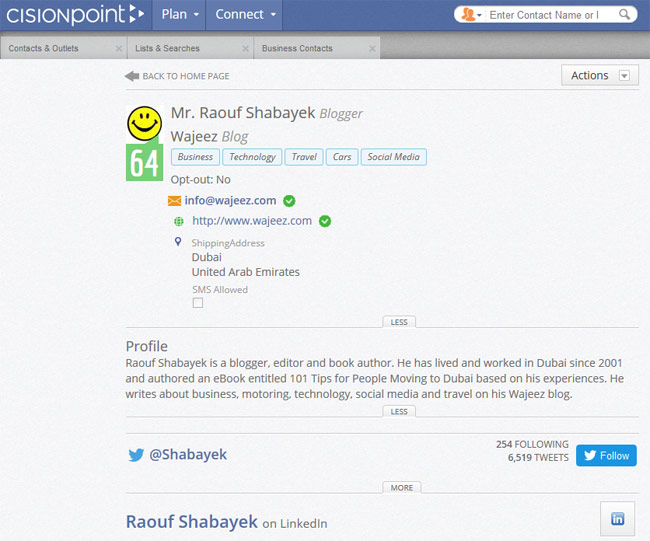 My profile on Cision Point. 64 out of 99 is not too shabby, eih?