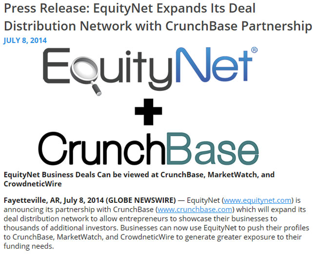 EquityNet + CrunchBase, an example for a successful news release