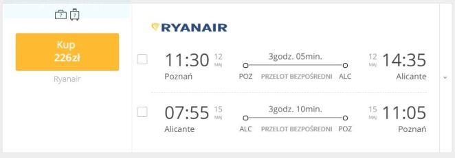 Alicante, Hiszpania bilet lotniczy