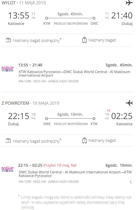 Tani lot do Dubaju - szczegóły lotu