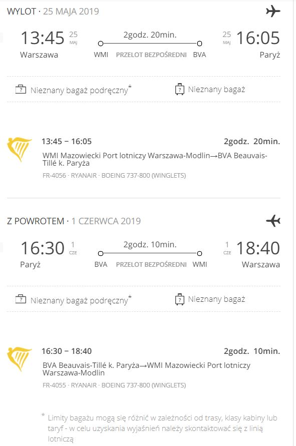 Paryż w maju 2019 - szczegóły taniego lotu Ryanair (godziny wylotu i powrotu)