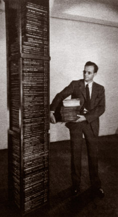 Edward Wallerstein with the stack of 78s 8 foot high and the LPs 15 inches high!