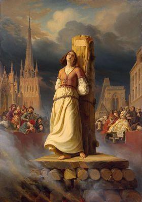 """Joan of Arc's Death at the Stake, by <a class=""""extiw"""" title=""""de:Hermann Stilke"""" href=""""https://de.wikipedia.org/wiki/Hermann_Stilke"""">Hermann Stilke</a>(1843)"""