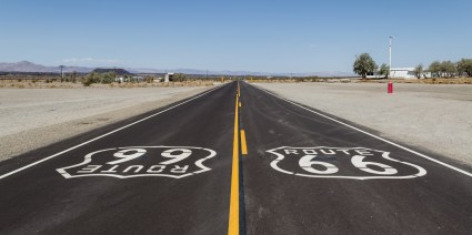 Route 66 originally ran through 8 states from Chicago, Illinois, through Missouri, Kansas, Oklahoma, Texas, New Mexico, and Arizona before ending at Santa Monica, California, covering a total of 2,448 miles (3,940 km)