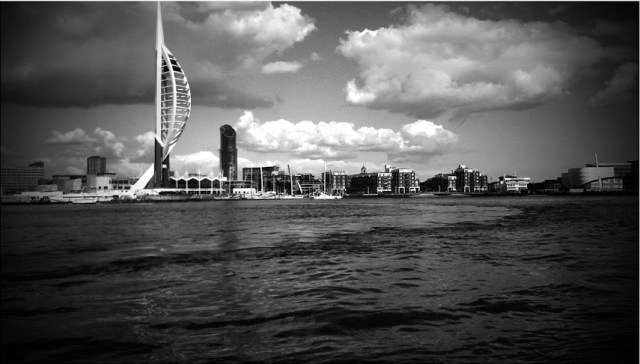 The Solent from Gosport Ferry pontoon - Google moody