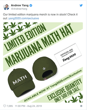 Democrat Presidential Hopeful, Andrew Yang, Selling Weed Merch To Raise Funds