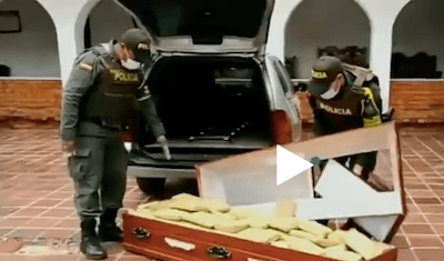 Colombian police find more than 650 pounds of marijuana hidden inside coffin