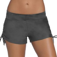 Aleumdr Womens Waistband Side Bottom Shorts Swimming Panty Grey Small(FBA)