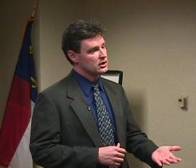 Dr. Paul Hinchey, Assistant Medical Director, Wake County EMS System, answering a question from the media