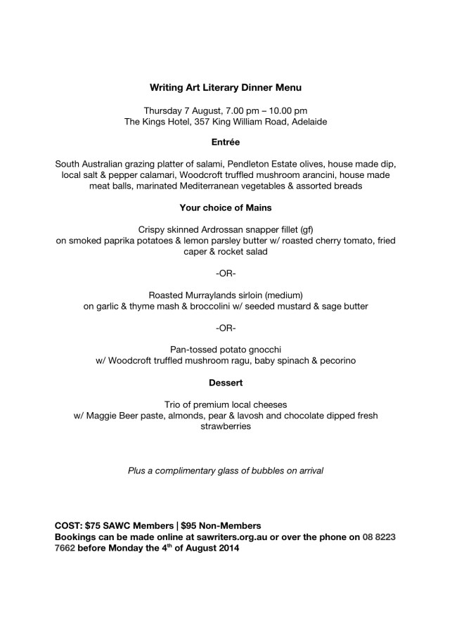 SALA Writing Art Literary Dinner menu