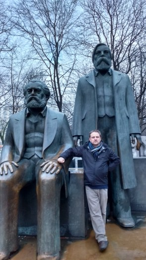 Stephen Orr with Marx and Engels, Berlin