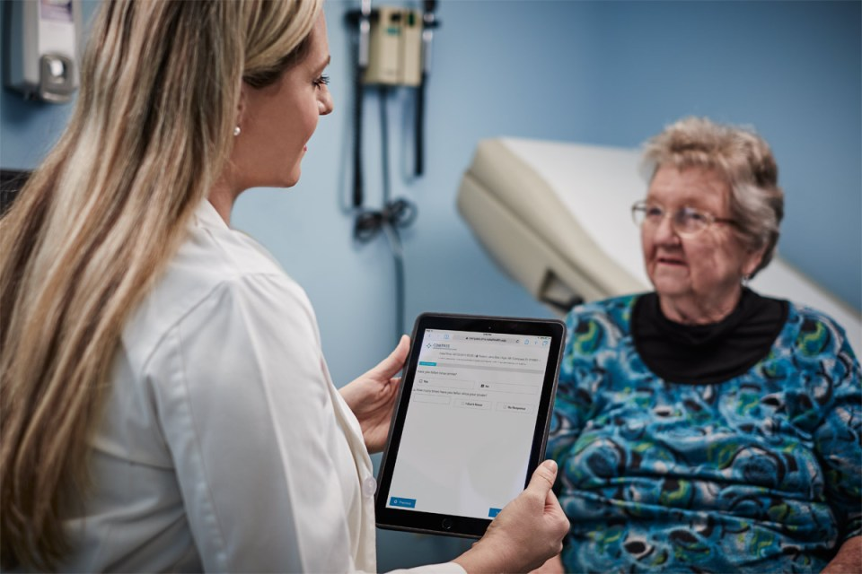 The eCare App is an easy, user-friendly platform that providers like Christina Condon, NP, can use to assess patients' recovery needs.