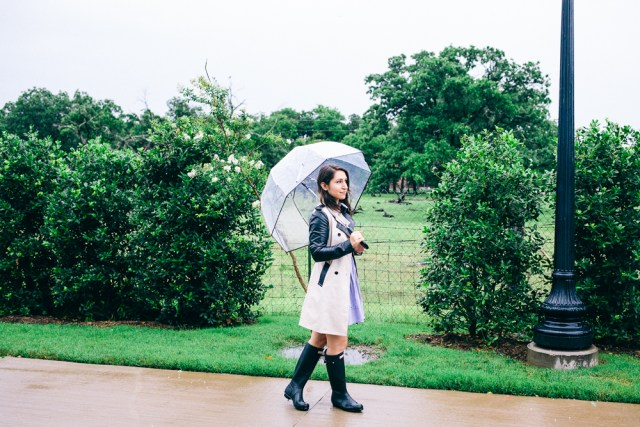 Rainy Day: classic trench, striped shirtdress and hunter boots