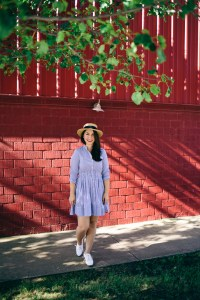 Chicwish Shirtdress, boater hat, red lip and oxford lace up shoes. Holiday weekend look!