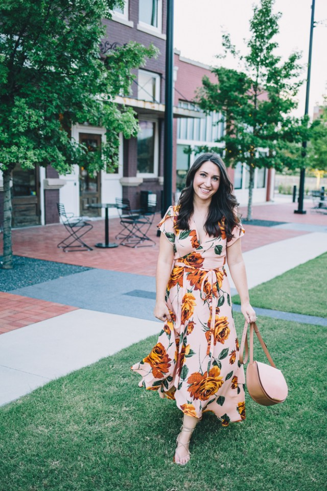 Dress Lover - Waketon Road Blog: Christy Dawn Peach Maxi dress and Cuyana bag