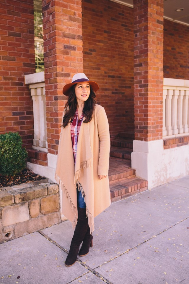 Hello November on Waketon Road Blog wearing Old Navy flannel shirt and floppy hat