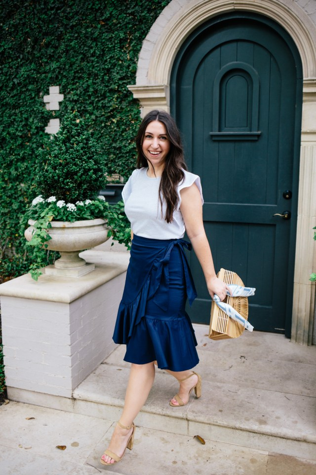 The Wrap Skirt on Waketon Road wearing Loft