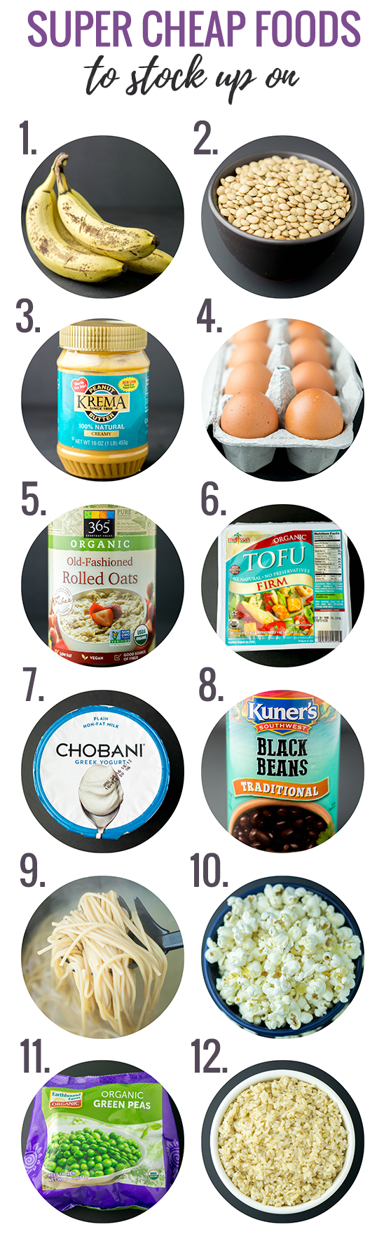 Grocery Shopping on a Budget -- Super cheap foods to stock up on when money is tight! #healthy #eating #cheap #shopping #budget www.wakeuptowaffles.com