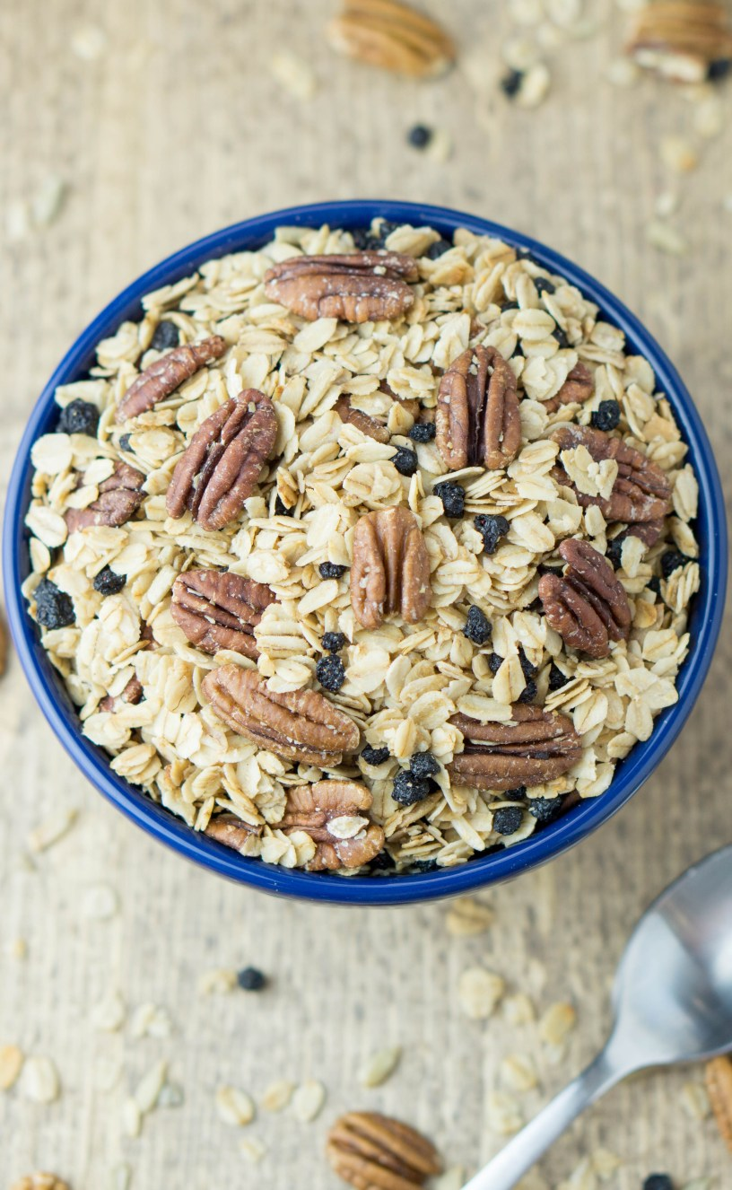 HEALTHY Blueberry Pecan Granola! #Vegan #blueberry #pecan #granola #sugarfree | www.wakeuptowaffles.com