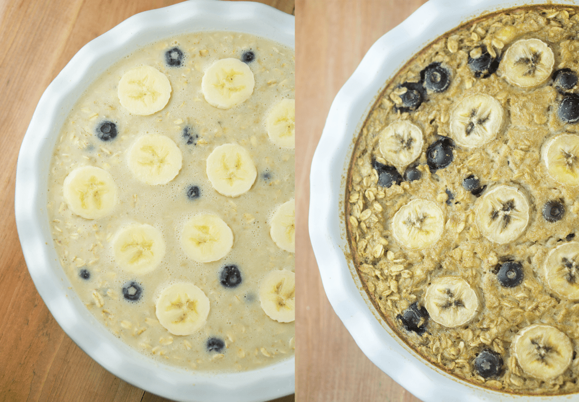 Healthy Blueberry Banana Baked Oatmeal! the perfect comforting breakfast for the whole fam! #healthy #banana #blueberry #baked #oatmeal | www.wakeuptowaffles.com