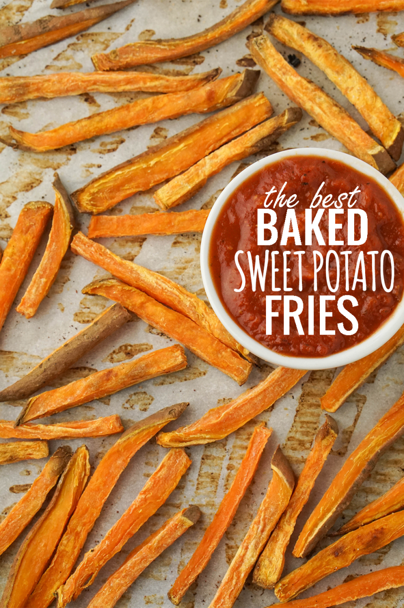 Oven Baked Sweet Potato Fries! Perfectly crispy and garlicy! #healthy #sweetpotato #fries #baked #oven
