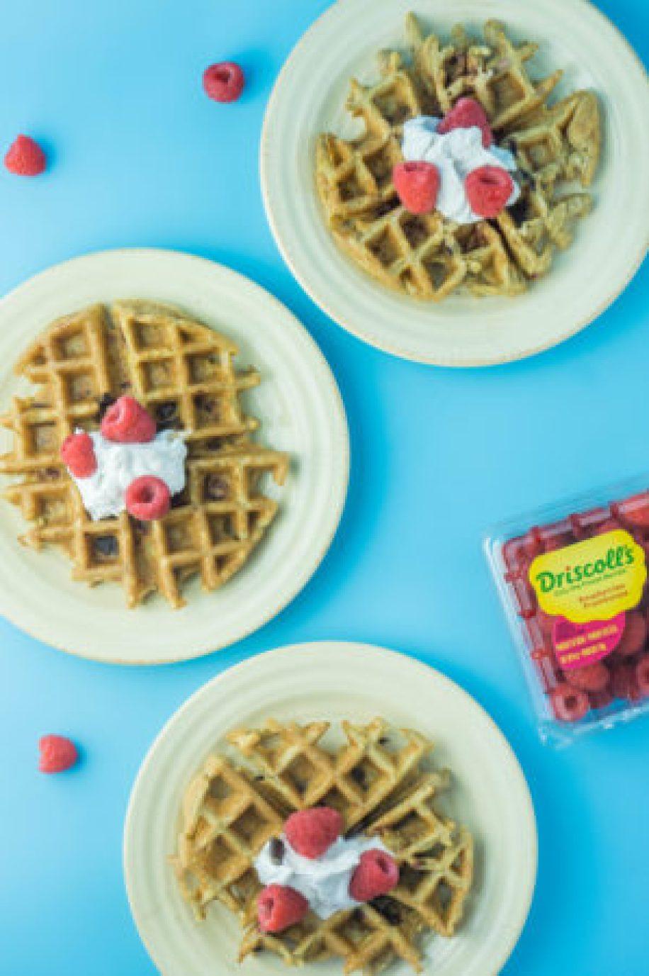 Healthy Raspberry Chocolate Chunk Waffles! #Driscolls #sponsored #healthyrecipe   www.wakeuptowaffles.com
