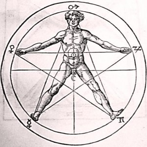 An upright pentagram symbolizing spirit over matter and the ascent of a human to heaven.