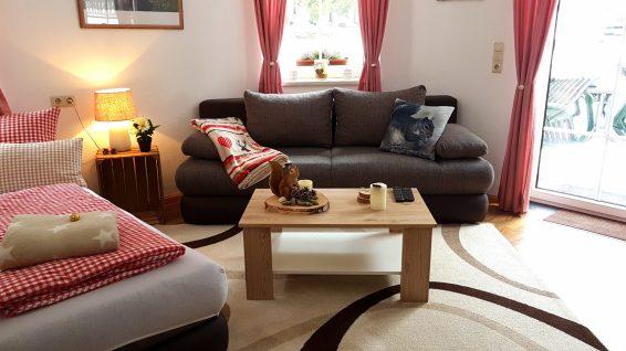 Wohnzimmer mit 2 Sofas Ferienwohnung Wald Kobel