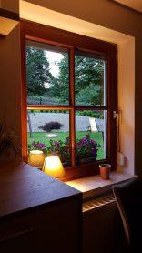 Ausblick Küche Ferienhaus Sacherl Wald Kobel