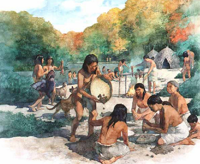 Native Americans from the Archaic period preparing hickory nuts